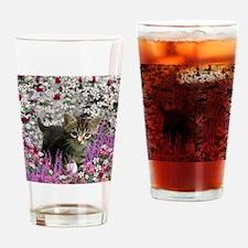 Emma Tabby Kitten in Flowers I Drinking Glass
