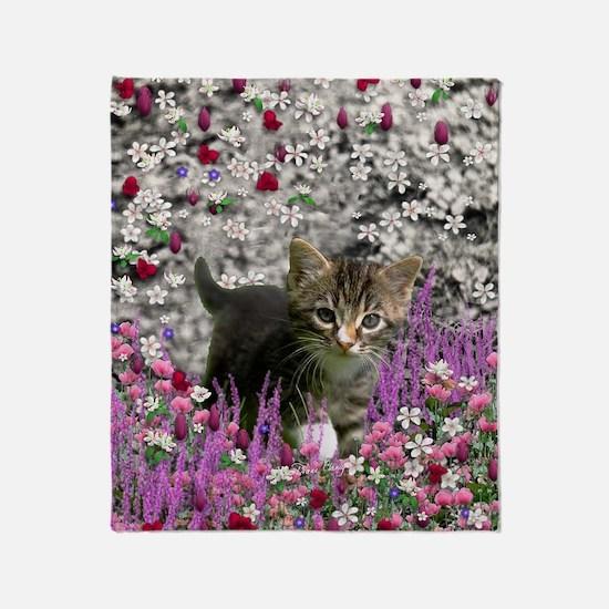 Emma Tabby Kitten in Flowers I Throw Blanket