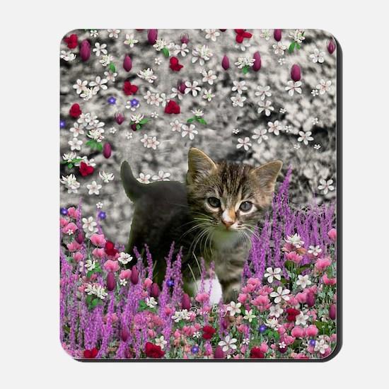 Emma Tabby Kitten in Flowers I Mousepad