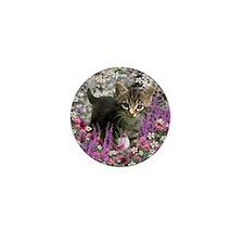 Emma Tabby Kitten in Flowers I Mini Button