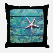 Starfish and Turquoise Seashore Throw Pillow