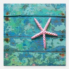"Starfish and Turquoise S Square Car Magnet 3"" x 3"""