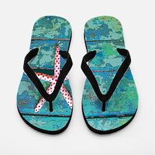 Starfish and Turquoise Seashore Flip Flops