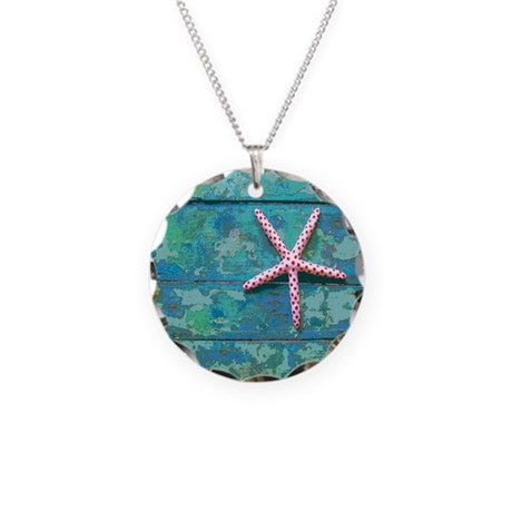 starfish and turquoise seash necklace circle charm by