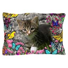 Emma Tabby Kitten in Butterflies Pillow Case