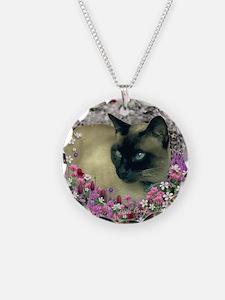 Stella Siamese Cat in Flower Necklace