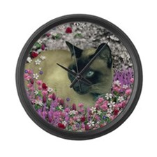 Stella Siamese Cat in Flowers I Large Wall Clock