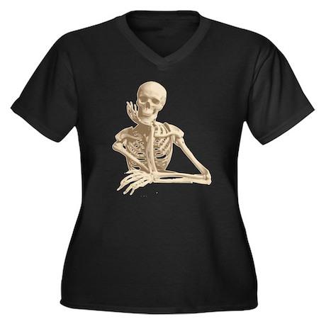 Skeleton Pal Women's Plus Size V-Neck Dark T-Shirt