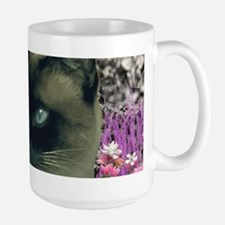 Stella Chocolate Point Siamese Flowers Large Mug