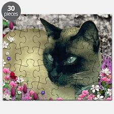 Stella Siamese Cat in Flowers I Puzzle