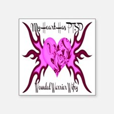 """My Heart Pink Square Sticker 3"""" x 3"""""""