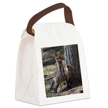 3x3_bear also glass Canvas Lunch Bag