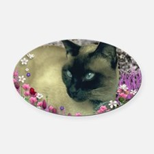 Stella Chocolate Point Siamese Flo Oval Car Magnet