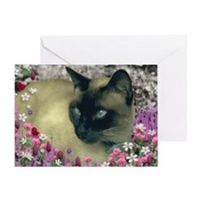 Stella Chocolate Point Siamese Flowe Greeting Card