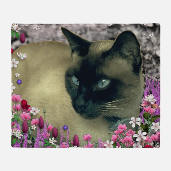 Stella Chocolate Point Siamese Flowe Throw Blanket