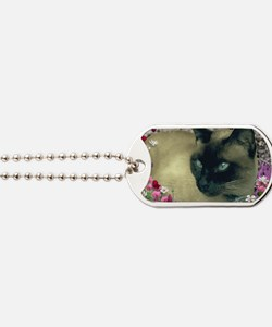 Stella Siamese Cat in Flowers I Dog Tags