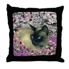 Stella Chocolate Point Siamese Flower Throw Pillow