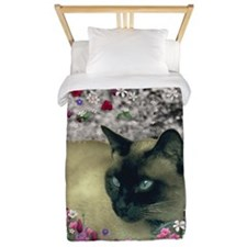 Stella Chocolate Point Siamese Flowers Twin Duvet