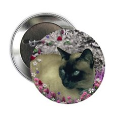"Stella Chocolate Point Siamese Flower 2.25"" Button"