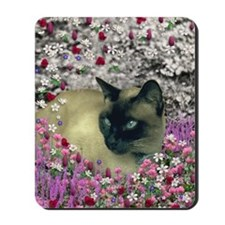 Stella Chocolate Point Siamese Flowers Mousepad