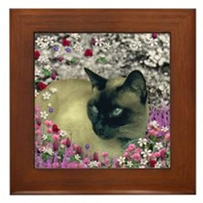 Stella Chocolate Point Siamese Flowers Framed Tile