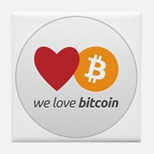 we love bitcoin Tile Coaster
