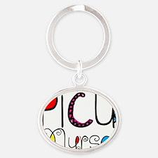 PICU Nurse Doodle Font Oval Keychain