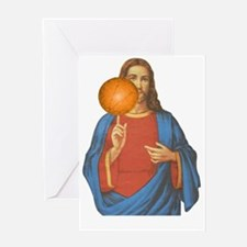 Jesus Christ Basketball Star Greeting Card
