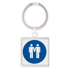 Man on Man Love in Blue Square Keychain