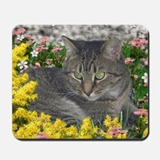 Mimosa the Tiger Cat in Mimosa Flowers Mousepad