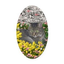 Mimosa the Tiger Cat in Mimosa Flo Oval Car Magnet