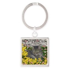 Mimosa the Tiger Cat in Mimosa Flo Square Keychain