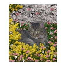 Mimosa the Tiger Cat in Mimosa Flowe Throw Blanket