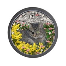 Mimosa the Tiger Cat in Mimosa Flowers Wall Clock