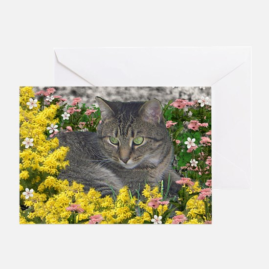 Mimosa the Tiger Cat in Mimosa Flowe Greeting Card
