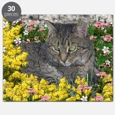 Mimosa the Tiger Cat in Mimosa Flowers Puzzle