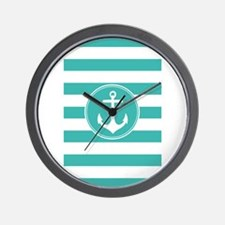 Turquoise nautical anchor stripes Wall Clock