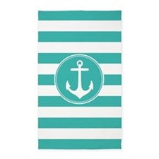 Turquoise nautical anchor stripes 3'x5' Area Rug