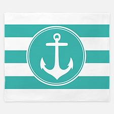 Turquoise nautical anchor stripes King Duvet
