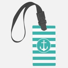 Turquoise nautical anchor stripes Luggage Tag