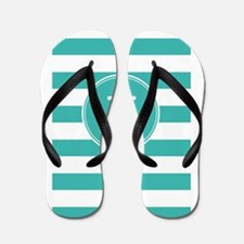 Turquoise nautical anchor stripes Flip Flops
