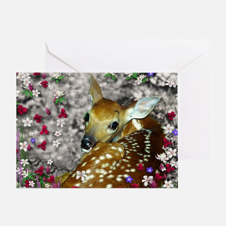 Bambina the Fawn in Flowers I Greeting Card