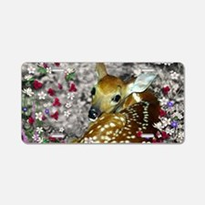 Bambina the Fawn in Flowers Aluminum License Plate
