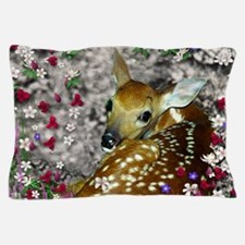 Bambina the Fawn in Flowers I Pillow Case