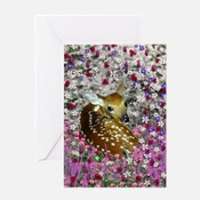Bambina the Fawn in Flowers II Greeting Card