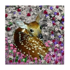 Bambina the Fawn in Flowers II Tile Coaster