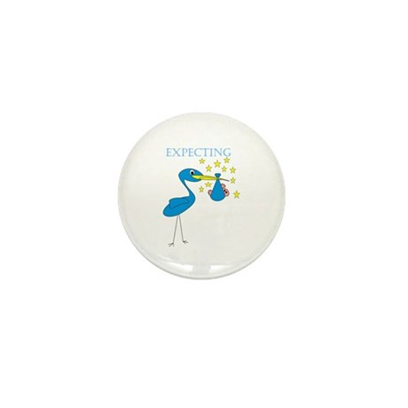 Expecting Blue Stork Mini Button (10 pack)