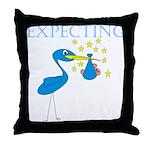 Expecting Blue Stork Throw Pillow
