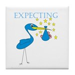 Expecting Blue Stork Tile Coaster