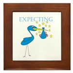 Expecting Blue Stork Framed Tile